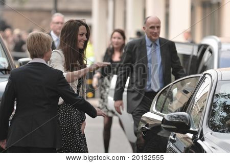 LONDON, ENGLAND - APRIL 28: Kate Middleton arrives at the Goring Hotel on the evening before her wedding to Prince William on April 28, 2011 in London England.