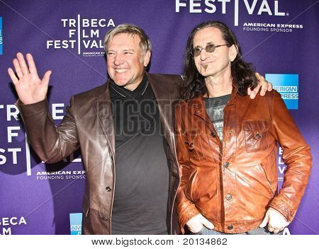 NEW YORK - APRIL 24: Alex Lifeson (L) and Geddy Lee (R) attend the