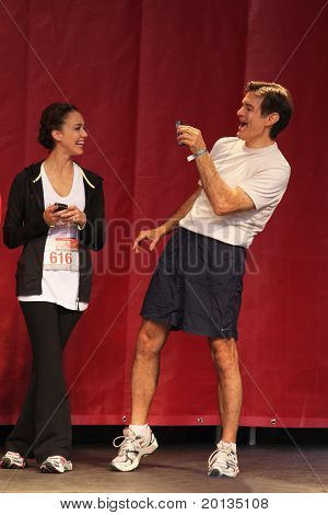 NEW YORK - MAY 1: Jessica Alba and Dr. Oz attend the 13th Annual Entertainment Industry  Foundation Revlon Run/Walk for Women at Times Square on May 1, 2010 in New York City.
