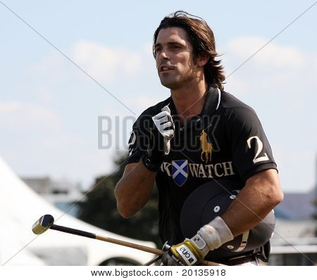 NEW YORK - MAY 30: Argentine polo player Nacho Figueras competes in the Veuve Clicquot Manhattan Polo Classic at Governors Island on May 30, 2009 in New York City.