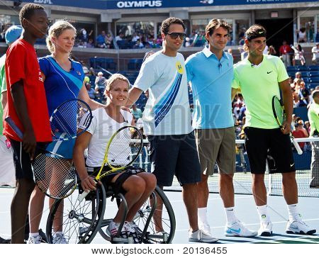 FLUSHING, NY - AUGUST 28: Kim Clijsters, Esther Vergeer, Quddus, Roger Federer, Rafael Nadal attend Arthur Ashe Kids Day at Billie Jean King National Tennis Center on August 28, 2010 in New York City.