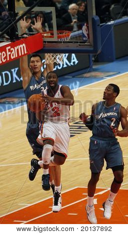 NEW  YORK - OCTOBER 17: New York Knicks guard Raymond Felton (2) shoots against the Washington Wizards at Madison Square Garden on October 17, 2010 in New York City.
