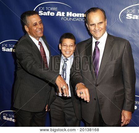 NEW YORK - NOV 11: Jose Cardinale, son Jesus, and Joe Torre attend the 8th Annual Joe Torre Safe at Home Foundation Gala at Pier Sixty at Chelsea Piers on November 11, 2010 in New York City.