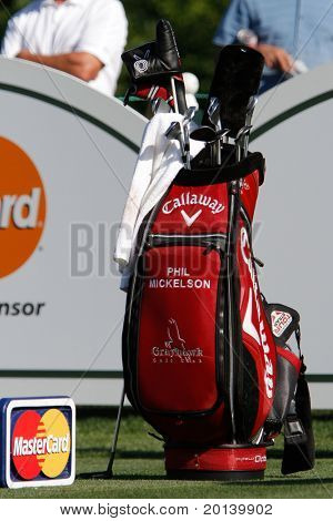 ORLANDO, FL - MARCH 23: Phil Mickelson's golf club bag during a practice round at the Arnold Palmer Invitational Golf Tournament on March 23, 2011 at the Bay Hill Club and Lodge in Orlando, Florida.