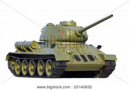 Old soviet tank model T-34, isolated over white background.