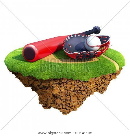 Baseball bat, glove (catcher's mitt) and ball based on little planet. Concept for baseball team or competition design. Tiny island / planet collection.