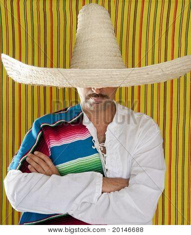 Mexican mustache man sombrero portrait shirt closeup holding serape