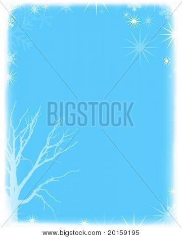 winter snow scene in babyblue