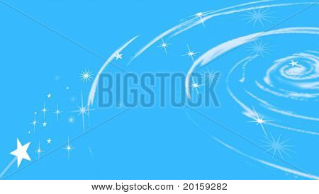 Celestial swirl with stars on blue background