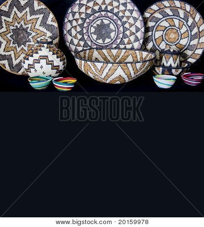 Beautiful Hand crafted baskets and bowls with copy space