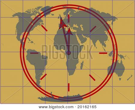 clock approaching midnight with map of world and grid