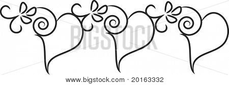 hearts filigree vector