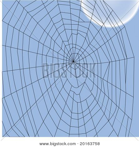 spider web with blue moon