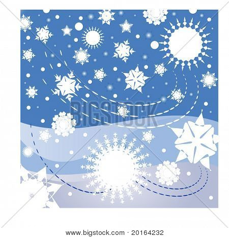 snowflakes,stars, and a warm windy winter's night