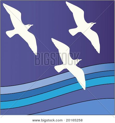 funky stripe background  with birds illustration