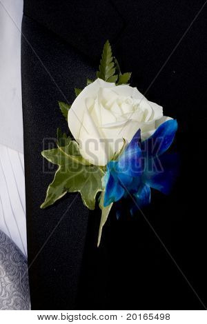 white rose flower on lapel