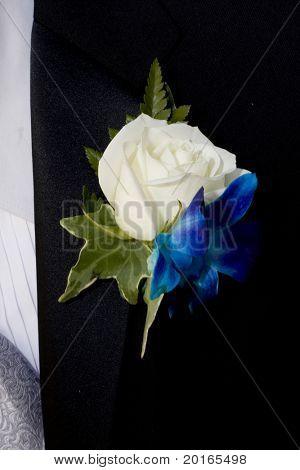 white rose flower on lapel