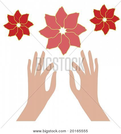 llegar a las manos aisladas con flores aisladas uso junto o separado