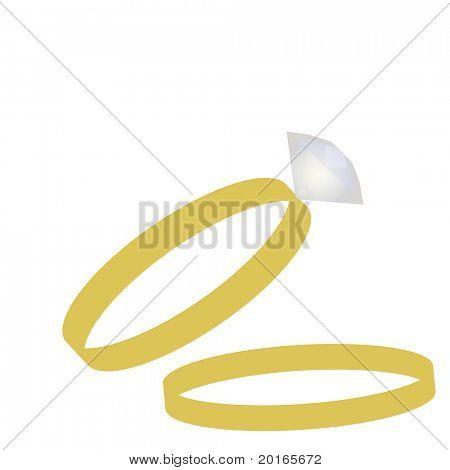wedding band and diamond ring illustration