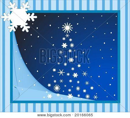 blaue Weihnachtskarte mit Schneeflocke für Ihr Logo oder Eingabe