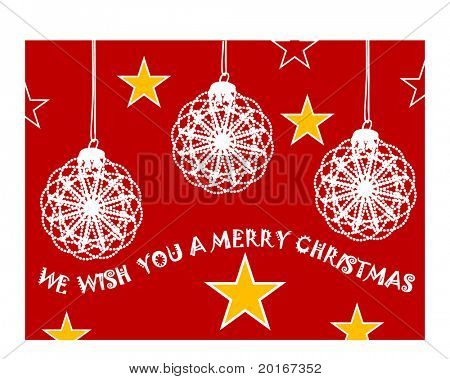 christmas baubles with greeting illustrated
