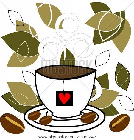 coffee cup with steam beans and leaves vector