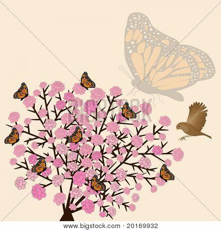flower bush butterflies and bird vector