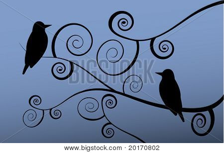 stylized spiral tree branches  and birds vector
