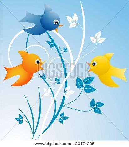 stylized and cute birds with leaves behind vector