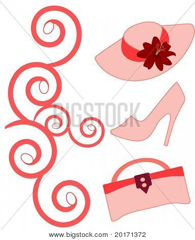 hat  shoe  and purse vector change colors easily