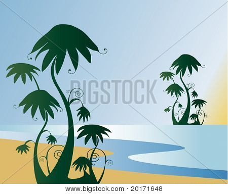 quirky tropical island vector