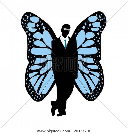 silhouette of man with butterfly wings vector