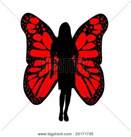 silueta de mujer con vectores de alas de mariposa