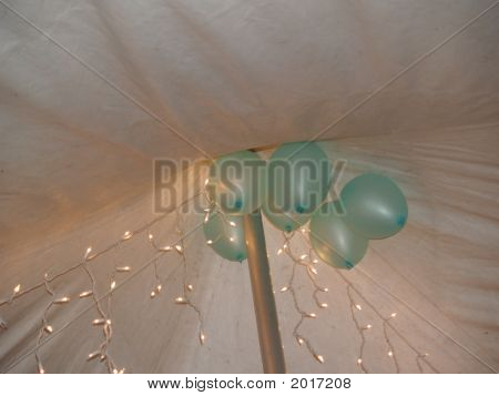 Blue Baloons White Canopy And Lights