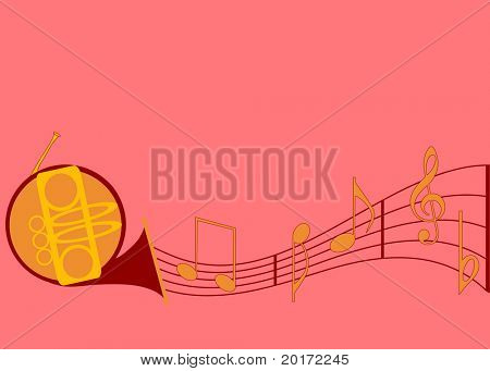 musical notes with horn vector