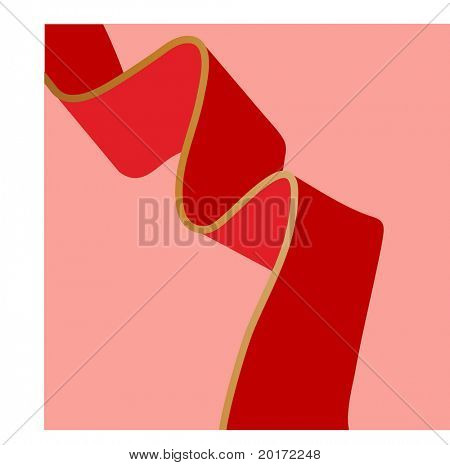 red ribbon on pink  vector