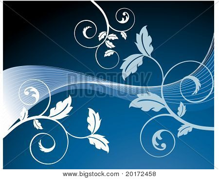 spiral leaves over netting in blue background vector