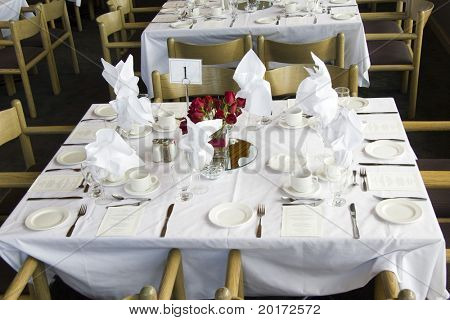 table setting (head table with #1 on it)