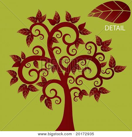 funky coil tree in red vector