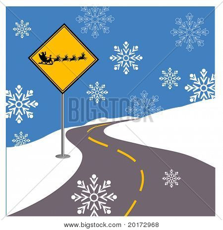 Santa Crossing Sign vector (with snowflakes0