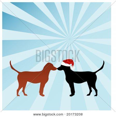 two doggies at christmas