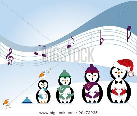 musical notes with penguin and arctic birds