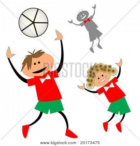 cartoon kids playing ball (team concept)