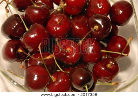 Just Picked Cherries In Bowl