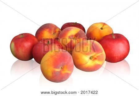 Peaches And Apples On Light Background