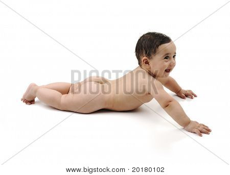 Naked cute baby isolated on white background