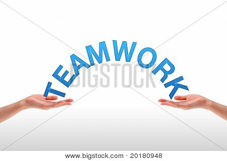 Hands Holding The Word Teamwork