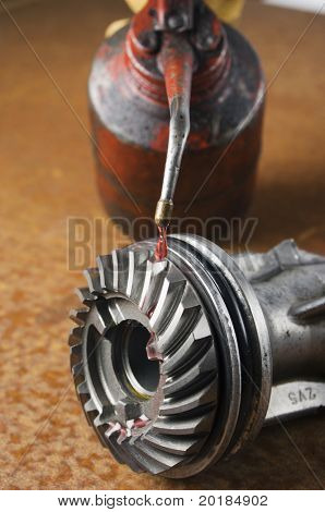 oil-can, gears and cog