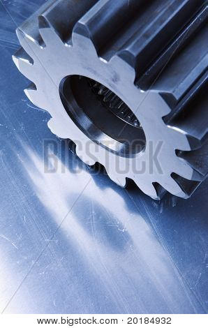 cog-wheel in blue