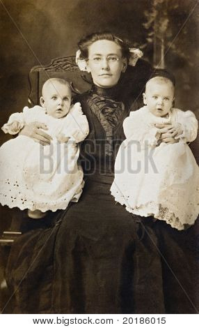 Mother and Twins Vintage Photograph